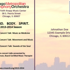 Postcard (back) submitted to Chicago Metropolitan Symphony Orchestra as a part of proposed promotional plan. (This design is not officially affiliated with the Chicago Metropolitan Symphony Orchestra)
