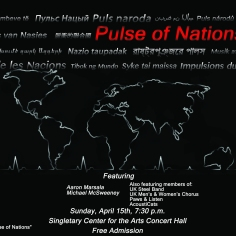 Poster used to advertise Pulse of Nations, a duo percussion recital at the University of Kentucky.