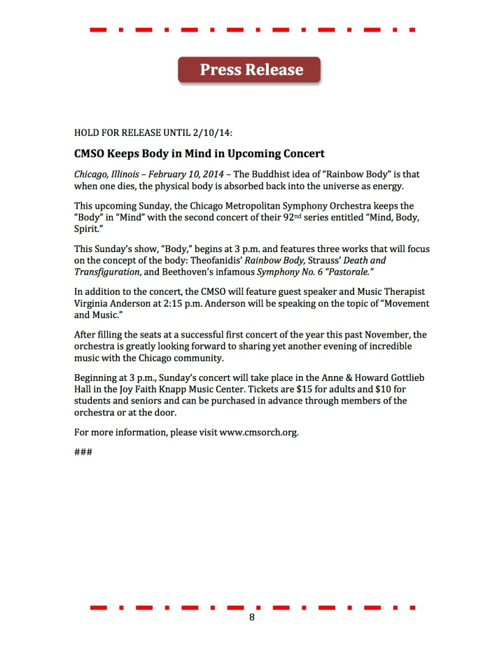 This press release was submitted as part of a promotional plan for the Chicago Metropolitan Symphony Orchestra.